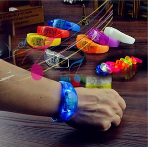 LED силиконового браслета LED контроль звук браслет светодиодного наручный ремешка загораться браслет браслет Party Bar Cheer игрушки Открытых Гаджет D1077