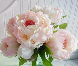 4 color decoración de la boda Mariage Rose DIY 7 peonía flor cabezas ramo falso peonía flores artificiales plantas