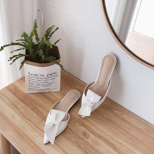 piatta a punta arco usura di estate pantofole donne Baotou mezzo pantofole scarpe 2019 nuova moda dei sandali pigri delle donne