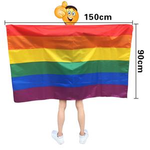 Gökkuşağı bayrağı şal ABD bayrağı pelerin 90 * 150 cm Amerika Gökkuşağı Eşcinsel gurur bayrakları Festivali Parti Banner süslemeleri malzemeleri HHA707