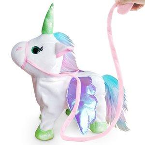 Électrique Marche licorne en peluche peluche Poupées de musique électronique Unicorn jouet pour les enfants Cadeaux de Noël 5 couleurs