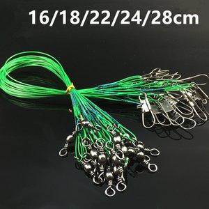 100pcs 16/18/22/24 / 28cm Anti-morder alambre de acero Pesca Líneas de acero inoxidable broches de presión giratorios Pesca Caza y Pesca Accesorios e-002