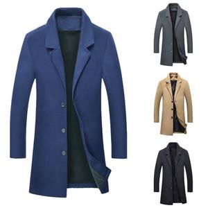 2019 neue herbst winter warme jacke wolle langen mantel männer casual warm black business mantel herren stilvolle wolljacken parka männlich