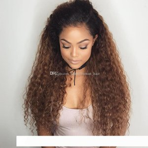 전체 레이스 인간의 머리 가발 아기 머리 자연 곱슬 옹 브르 가발 T1b의 30 레이스 프런트 가발 페루 버진 머리 (150) 밀도를 pelucas