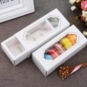 Transparent Macaron Box Drawer Box Chocolate Boxes Cake Boxes Cookies Biscuit White Paper Box 14.5*5.5*5cm Gift Boxes