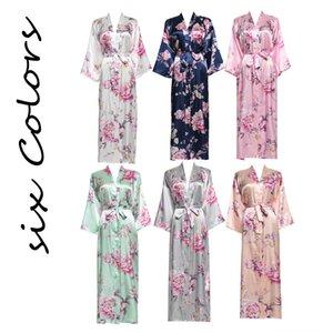 YUXINBRIDAL 2019 New Long Floral Robe Kimono Bridal Satin Silk Bathrobe Night Dress Women's Underwear Underwear Wedding Robes Bridesmaids B