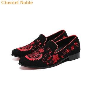 2019 Elements manual Chentel Noble Cavalheiro chinês da forma do vestido Mens Shoes couro genuíno camurça Flats Sapatos Masculinos