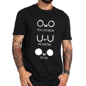 Nós todos camisa tem demônios, T Meme Emoção bonito padrão abstrato engraçado do pescoço de grupo 100% algodão camiseta Tamanho da UE