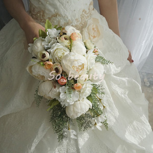 Розовый пион свадебный каскадный букет букет свадьба букеты невеста девушка цветы домашние вечеринки украшения поддельных столов цветок белый розовый