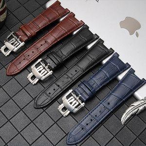 Band Man PP Pattern Genuine Strap Watch Nautilus Waterproof Fold Buckle Alligator Watchband Strap For Leather Watch 25mm Man Jqohg