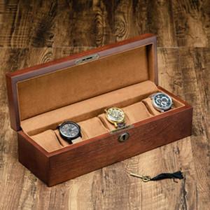 Retro-Holz-Uhr-Kasten mit Key-Uhr-Halter-Kasten für Uhren Männer Rechteck / Quadrat Schmuck Organizer 6 Grids Organizer