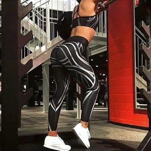 Femmes Mode Active Casual Longueur long Skinny rayé noir taille élastique Imprimer taille haute Pantalon Crayon Taille S-XL