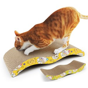 Cat Scratchers Forma de cartón corrugado Cat Scratchers con Catnip Pet Products for Cats Kitten 44 * 21 * 7cm Grosor 4cm D19011506