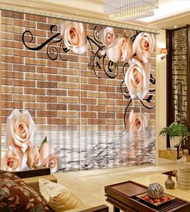 핑크 꽃 커튼 인쇄 GirlCurtain Living Room 침실 용 창문 처리를위한 3D 커튼 Beautiful Home Decor Drapes