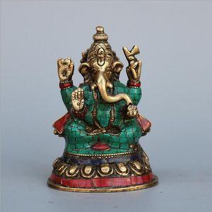 Nepal Pure Copper Turquoise Proboscis Deus Decoração Tianmu Elephant tântrico Elephant God of Wealth Buddha Decoração Colecção