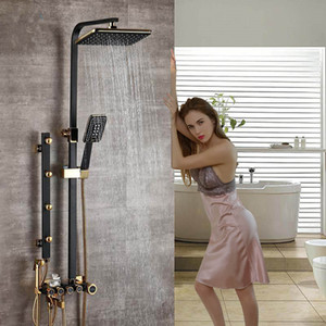 Nero Golden Shower Faucet Set altezza regolabile doccia con getto massaggiante Mixer di pioggia di testata in ottone Bidet spruzzatore Capo Bath