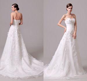 Elegante Hand Made Wedding Dress Flower Com Cristal A Linha de Trem da varredura Voltar espartilho organza Vestidos de Novia baratos real Imagem vestidos de noiva