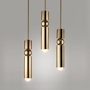 Lámpara colgante LED G10 5W Oro Negro del tubo largo luz pendiente moderna nórdica luces de la cocina Comedor Barra Decoración Iluminación para el hogar