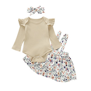 Mikrdoo Newborn Toddler Baby Girl Clothes Set Long Sleeve Romper Top + Suspender Skirt with Headband 3PCS Outfit