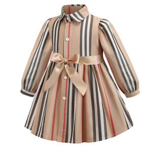 2019 가을 소녀 드레스 디자이너 키즈 스트 라이프 옷깃 긴 소매 드레스 단일 리본 리본 리본 공주 드레스 F7892