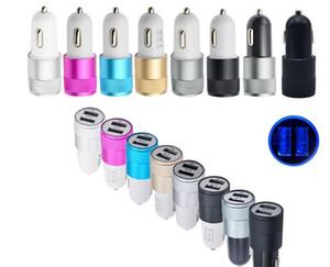 Doppia porta USB Alimentatore da auto Caricatore Universale Alluminio 2 porte USB Caricatori da auto per Iphone XS MAX X Samsung Galaxy S10 Inoltre 5V 1A