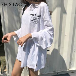 ZHISILAO с длинным рукавом хлопок футболки Плюс Размер Женщины Сыпучие Рубашки Повседневный Белый тенниску Осень Фиолетовый футболках завышением Chic T200319