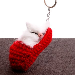 Slippers cat key chain bag pendant accessories Creative slippers cute sleeping cat plush ornaments Small accessories