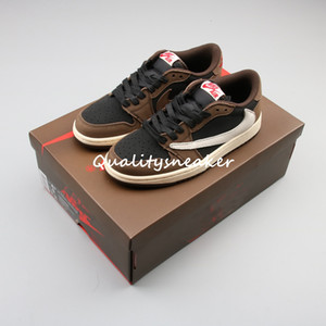 2019 Travis Scott 1 Low OG SP escuro Cactus Mocha Jack Homens Running Shoes Sports Sneakers 36-45
