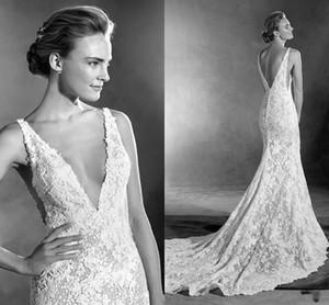 Sexy Gali Karten Mermaid Wedding Dresses Backless Spaghetti Neck aso ebi dress Lace Applique Custom Made Vintage Bridal Gowns