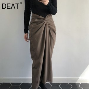 DEAT 2020 Autumn New Fashion Trend Clothing Elegant Covered Hips Strap Long Length High Waist Hip Skirt Pleated WI16