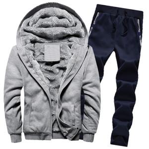 Coat En Pantolon Erkek Setleri eskitmek Erkek Kapüşonlular Kış Sıcak Kalın Polar Fermuar Triko Kapşonlu Ceket
