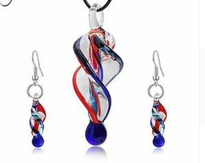 Personalidade Espiral de Vidro Conjunto de Jóias Mulheres Forma de Vidro Irregular Pingente Charme Colar Dangle Brincos Bijoux Presente