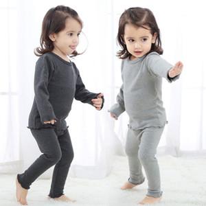 Kız bebekler Pijama 10 Renk Katı Çocuklar Kalın Homewear Çocuk Casual Giyim Kız Kıyafetler Bebek Yüksek Bel pijamalar Suit 060.303 ayarlar