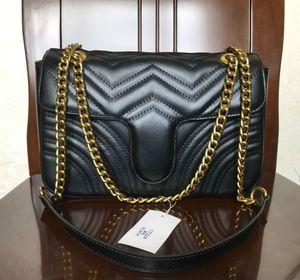 Venta de la manera de las mujeres Bolsa de hombro clásico de la PU del cuero del estilo del corazón de oro Marmont 26cm cadena de la bolsa bolso de la mujer Bolsas Mensajero Bolsos