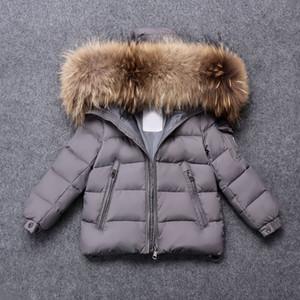 Kid Fille Garçon Veste d'hiver Vêtement chaud vers le bas Big Real Manteau de fourrure vêtements d'hiver pour enfants vestes à capuchon pour garçon Vêtements Fille S200107