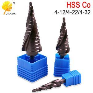 미터 나선형 플루트 셰이프 구멍 커터 4-12mm 4-22mm 4-32mm HSS 스틸 콘 드릴 비트 세트 HSS 공동 M35 철강 단계 선명하게