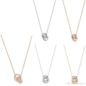 HYWo FURTHER Further Fashion Rose Gold Double Ring Fashion Simple and Exquisite Three-dimensional Knotted Necklace Clavicle Chain
