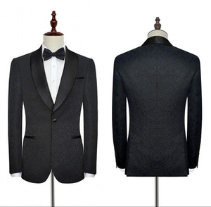 New Black Wedding smokings Stubili da sposa formale per matrimoni Business Lavoro per uomo Abiti da uomo in alta qualità Suits Blazer personalizzato con ricamo SU0021