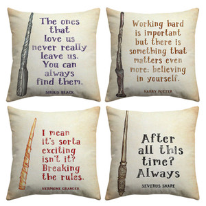 Harry Potter Quotes Letter Cushion Covers Working Hard Believing in Yourself Vintage Style Linen Cotton Pillow Case Sofa Decoration