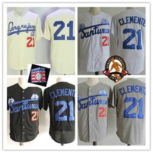 Para hombre de 21 parches Roberto Clemente HOF Jersey cosido gris blanco negro Santurce cangrejeros Puerto Ricos Roberto Clemente de béisbol de los jerseys S-3XL