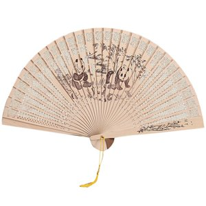 2020 Fashion Chinese Sandalwood Folding Fan For Stage Wedding Banquet Party Exquisite Animal Print Fan Dance Decoration Popular