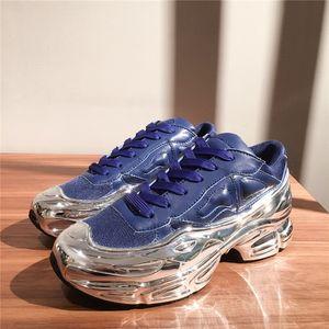 Sneaekers Rafsimons Büyük Boy Sneaker, Gümüş sıvı tasarım sneaker daldırma etkisi Sole Spor Eğitmeni Çok renkli
