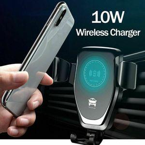 2020 뜨거운 판매 무선 자동차 충전기 마운트 10W 패스트 Qi 자동차 충전기 공기 배출 전화 홀더 아이폰 xs 최대 xs 8 플러스 삼성 갤럭시 S10