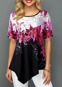 Flora Printed Дизайнер Женская Tshirrts Мода коротким рукавом лето Tops Casual Irrefular Хем женщин футболки