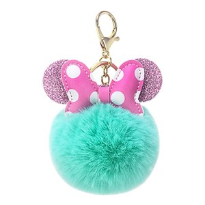 New creative PU bowknot hairball key chain pendant ladies bag car key hang accessories popular small gifts.
