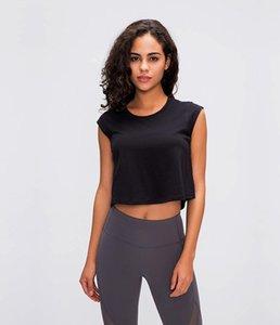 2020 лето новый LU-03 сплошной цвет небольшой короткими рукавами футболки женщина подвергается пуп носить случайный рубашку быстросохнущая дышащая йоги одежды йа
