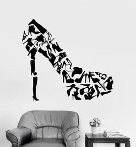 크리 에이 티브 디자인 높은 뒤꿈치 패션 신발 상점 창문 데칼 비닐 벽 스티커 홈 장식 여자 침실 이동식 배경 화면