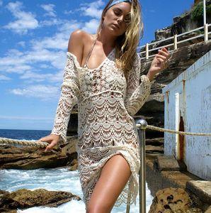 Nova Europa das Mulheres Crochet Smock Manga Comprida Vestido de Praia Senhora Biquíni Smock Oco Out Tops de Malha de Renda Vestido C4091