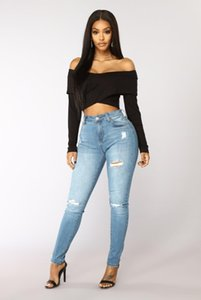 2020 fashion womans clothes women designer jeans Womens high waisted jeans Plus Size Woman Simplicity femme ripped jeans made in china 41702