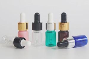 5ML plastik e sıvı şişe PET damlatma şişesi açık sarı, mavi, yeşil, pembe uçucu yağ şişesi altın, gümüş, siyah kapak camı pippet